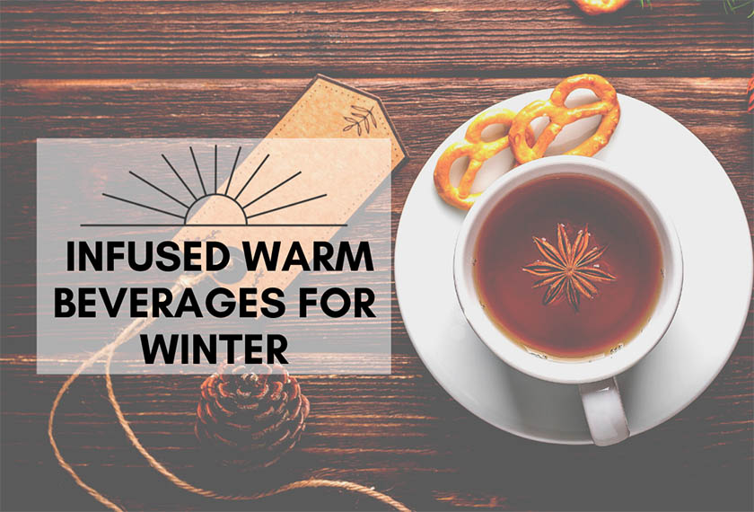 Cannabis infused warm beverage title with cup of cocoa